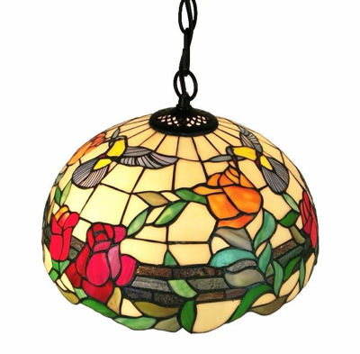 SignatureThings.com Brass Hardware Tiffany Style Floral Hanging Pendant Lamp 2 Light