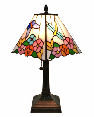 SignatureThings.com Brass Hardware Tiffany Style Floral Mission Style Table Lamp 8 Inches Wide