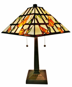 Tiffany Style Floral Mission Table Lamp 21 In High
