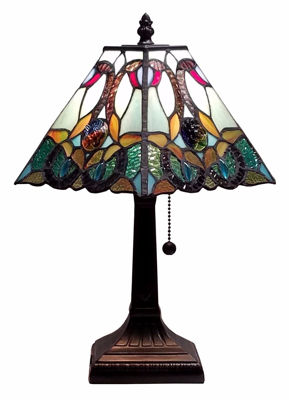 SignatureThings.com Brass Hardware Tiffany Style Floral Mission Table Lamp 8 Inches Wide