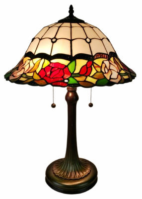 Tiffany Style Floral Roses Table Lamp 23 In Tall - Tiffany Style Table Lamps | Stained Glass Table Lamps | Tiffany Table Lamps | Decorative Table Lamps | tiffany table lamps | Stained Glass Table Lamps | table lamps for living room | Reading Table Lamps | crystal table lamps | tiffany style lamp shades | SignatureThings.com