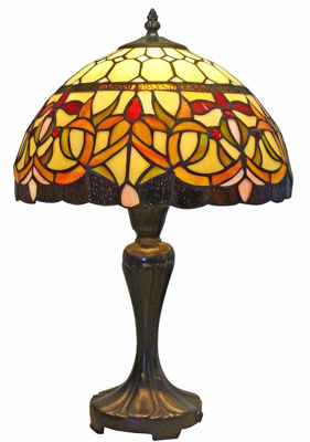 SignatureThings.com Brass Hardware Tiffany Style Floral Table Lamp 12-inch Wide