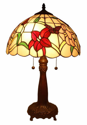 SignatureThings.com Brass Hardware Tiffany Style Floral Table Lamp 22 Inches Tall