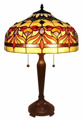 SignatureThings.com Brass Hardware Tiffany Style Floral Table Lamp 24 In