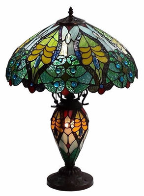 Tiffany Style Floral Table Lamp Double Lit Lighted Base