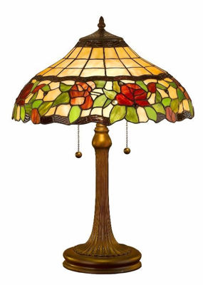 SignatureThings.com Brass Hardware Tiffany Style Floral Table Lamp, 23-inch
