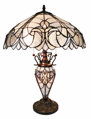 SignatureThings.com Brass Hardware Tiffany Style Floral White Double Lit Table Lamp 23 Inches Hight