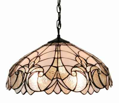 SignatureThings.com Brass Hardware Tiffany Style Floral White Hanging Lamp 18 In Wide
