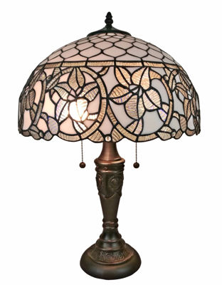 SignatureThings.com Brass Hardware Tiffany Style Floral White Table Lamp