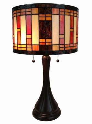 SignatureThings.com Brass Hardware Tiffany Style Geometric Table Lamp