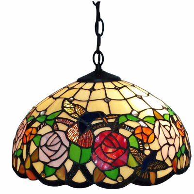 SignatureThings.com Brass Hardware Tiffany Style Hummingbirds Floral Hanging Lamp Wide 16 In