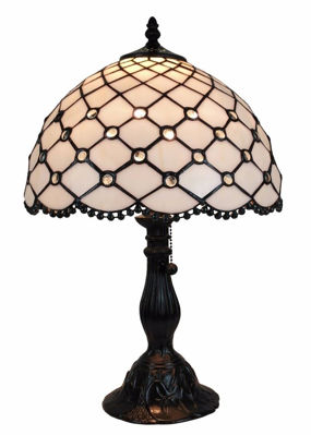 SignatureThings.com Brass Hardware Tiffany Style Jewel Table Lamp 19 Inches Tall