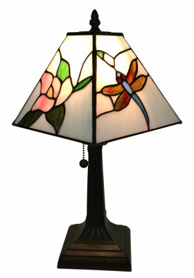 Tiffany Style Mission Dragonfly Table Lamp 8 Inches Wide