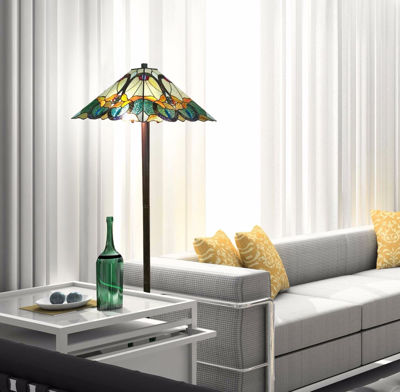 Tiffany Style Mission Floor Lamp 63 Inches High - Tiffany Style Floor Lamps | Stained Glass Floor Lamps | tiffany floor lamps | modern floor lamps | contemporary floor lamps | floor standing lamps | unusual floor lamps |  designer floor lamps | crystal floor lamp | living room floor lamps | SignatureThings.com