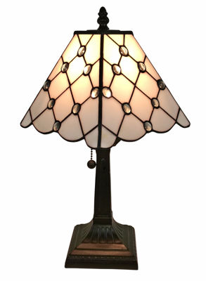 SignatureThings.com Brass Hardware Tiffany Style Mission Jeweled Table Lamp 8 Inches Wide