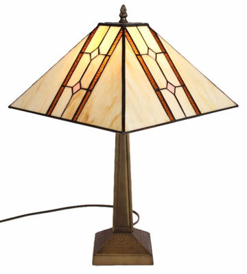 SignatureThings.com Brass Hardware Tiffany Style Mission Table Lamp