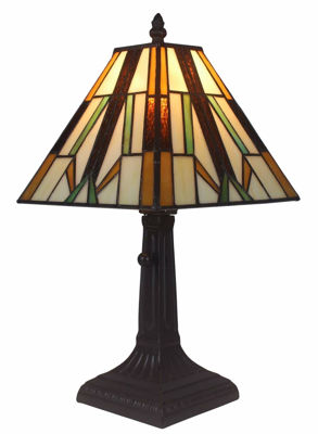 SignatureThings.com Brass Hardware Tiffany Style Mission Table Lamp 15.5 Inches High