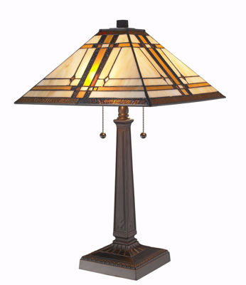 SignatureThings.com Brass Hardware Tiffany Style Mission Table Lamp 22 Inches Tall