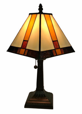 SignatureThings.com Brass Hardware Tiffany Style Mission Table Lamp 8 In Wide