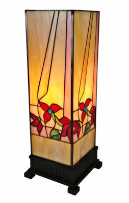 SignatureThings.com Brass Hardware Tiffany Style Multi Floral Table Lamp