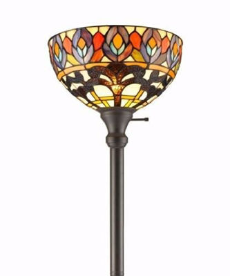 SignatureThings.com Brass Hardware Tiffany Style Peacock 1-light Torchiere Lamp