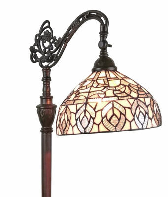 SignatureThings.com Brass Hardware Tiffany Style Peacock Design Floor Reading Lamp