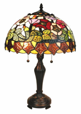 SignatureThings.com Brass Hardware Tiffany Style Poppies Table Lamp 14 Inches Wide
