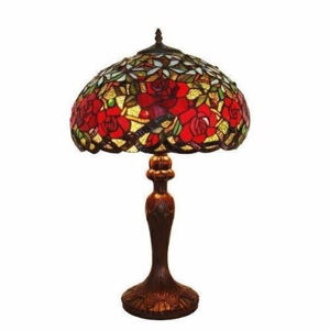 Tiffany Style Red Roses Table Lamp 24 In - Tiffany Style Table Lamps | Stained Glass Table Lamps | Tiffany Table Lamps | Decorative Table Lamps | tiffany table lamps | Stained Glass Table Lamps | table lamps for living room | Reading Table Lamps | crystal table lamps | tiffany style lamp shades | SignatureThings.com