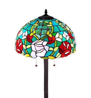 SignatureThings.com Brass Hardware Tiffany Style Roses Floor Lamp 61 In