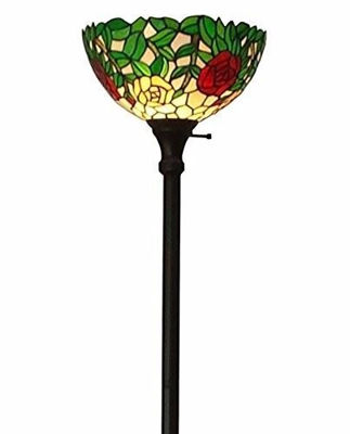 SignatureThings.com Brass Hardware Tiffany Style Roses Floor Torchiere Lamps 72 Inches Tall