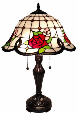 SignatureThings.com Brass Hardware Tiffany Style Roses Table Lamp 24 In