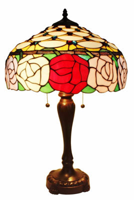 Tiffany Style Roses Table Lamp 25 In - Tiffany Style Table Lamps | Stained Glass Table Lamps | Tiffany Table Lamps | Decorative Table Lamps | tiffany table lamps | Stained Glass Table Lamps | table lamps for living room | Reading Table Lamps | crystal table lamps | tiffany style lamp shades | SignatureThings.com