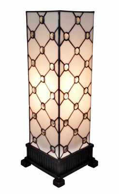 SignatureThings.com Brass Hardware Tiffany Style Table Lamp White Jewel 18 In