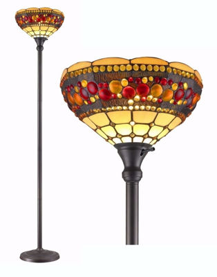 SignatureThings.com Brass Hardware Tiffany Style Torchiere Jeweled Lamp 71 Inches Tall