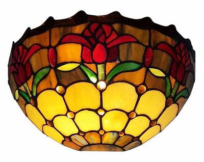 Tiffany Style Tulips Design Wall Sconce Lamp