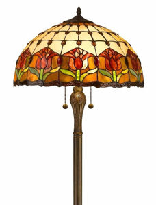 Tiffany Style Tulips Floor Lamp 18-inch Shade - Tiffany Style Floor Lamps | Stained Glass Floor Lamps | tiffany floor lamps | modern floor lamps | contemporary floor lamps | floor standing lamps | unusual floor lamps |  designer floor lamps | crystal floor lamp | living room floor lamps | SignatureThings.com