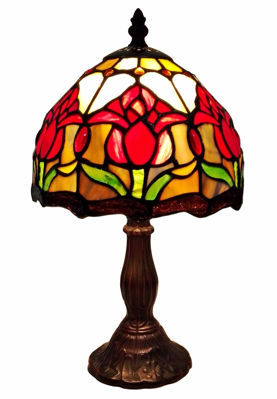 Tiffany Style Tulips Table Lamp 14 Inches High - Tiffany Style Table Lamps | Stained Glass Table Lamps | Tiffany Table Lamps | Decorative Table Lamps | tiffany table lamps | Stained Glass Table Lamps | table lamps for living room | Reading Table Lamps | crystal table lamps | tiffany style lamp shades | SignatureThings.com