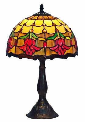 SignatureThings.com Brass Hardware Tiffany Style Tulips Table Lamp 19 Inches Tall