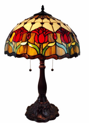 Tiffany Style Tulips Table Lamp 24 Inches - Tiffany Style Table Lamps | Stained Glass Table Lamps | Tiffany Table Lamps | Decorative Table Lamps | tiffany table lamps | Stained Glass Table Lamps | table lamps for living room | Reading Table Lamps | crystal table lamps | tiffany style lamp shades | SignatureThings.com