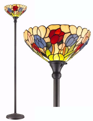 SignatureThings.com Brass Hardware Tiffany Style Tulips Torchiere Lamp 70 Inches Tall