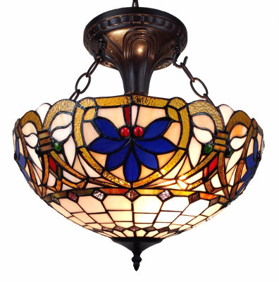 Tiffany Style Victorian Design 2-light Pendant Lamp - Tiffany Style Ceiling Lamps | Stained Glass Ceiling Lamps | tiffany ceiling lamps | ceiling lights | living room ceiling lights | bedroom ceiling lights lamps | antique tiffany chandelier | Decorative Ceiling Lamps | SignatureThings.com