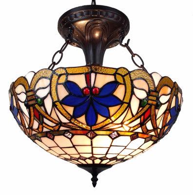 SignatureThings.com Brass Hardware Tiffany Style Victorian Design 2-light Pendant Lamp