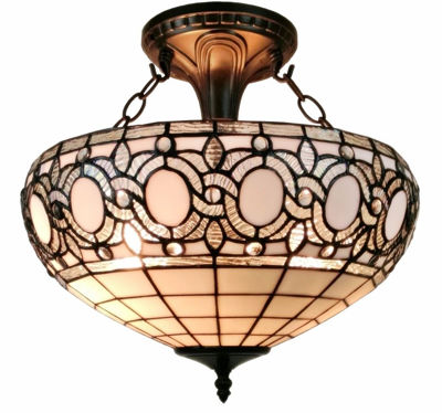 Tiffany Style White 2-light Ceiling Fixture - Tiffany Style Ceiling Lamps | Stained Glass Ceiling Lamps | tiffany ceiling lamps | ceiling lights | living room ceiling lights | bedroom ceiling lights lamps | antique tiffany chandelier | Decorative Ceiling Lamps | SignatureThings.com
