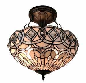 Tiffany Style White Ceiling Fixture 16 Inches Wide