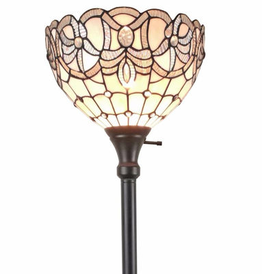 SignatureThings.com Brass Hardware Tiffany Style White Color Torchiere Floor Lamp 72 Inches Tall
