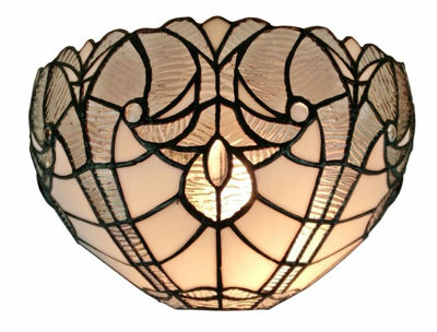 SignatureThings.com Brass Hardware Tiffany Style White Floral Wall Sconce Lamp 12 In Wide