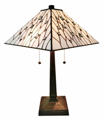 SignatureThings.com Brass Hardware Tiffany Style White Mission Table Lamp 21 In High
