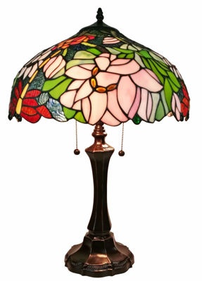 Tiffany-style Floral Design Table Lamp 25 Inches Tall - Tiffany Style Table Lamps | Stained Glass Table Lamps | Tiffany Table Lamps | Decorative Table Lamps | tiffany table lamps | Stained Glass Table Lamps | table lamps for living room | Reading Table Lamps | crystal table lamps | tiffany style lamp shades | SignatureThings.com