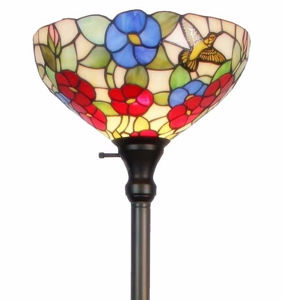 Tiffany-style Hummingbirds Floral Torchiere Floor Lamp 70 Inches Tall - Tiffany Style Floor Lamps | Stained Glass Floor Lamps | tiffany floor lamps | modern floor lamps | contemporary floor lamps | floor standing lamps | unusual floor lamps |  designer floor lamps | crystal floor lamp | living room floor lamps | SignatureThings.com