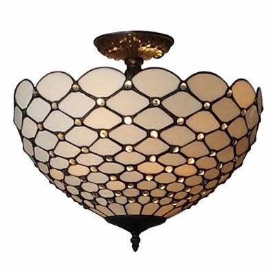 Tiffany-style Jewel 2-light Semi-flush Ceiling Fixture, 16-inch - Tiffany Style Ceiling Lamps | Stained Glass Ceiling Lamps | tiffany ceiling lamps | ceiling lights | living room ceiling lights | bedroom ceiling lights lamps | antique tiffany chandelier | Decorative Ceiling Lamps | SignatureThings.com